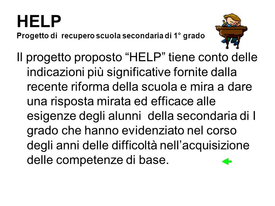 HELP Progetto di recupero scuola secondaria di 1° grado