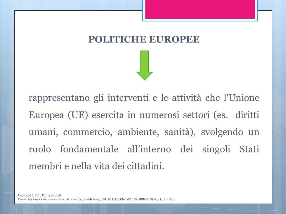 POLITICHE EUROPEE rappresentano gli interventi e le attività che l Unione Europea (UE) esercita in numerosi settori (es.