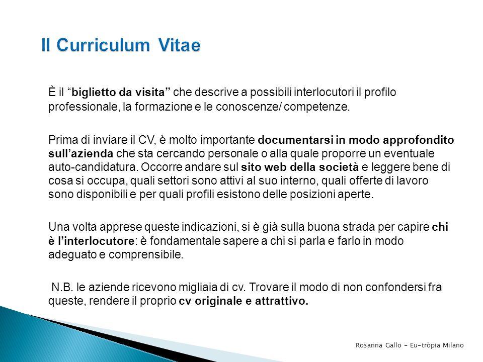 Il Curriculum Vitae