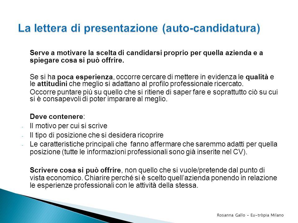 La lettera di presentazione (auto-candidatura)