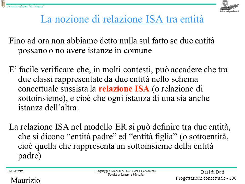 La nozione di relazione ISA tra entità