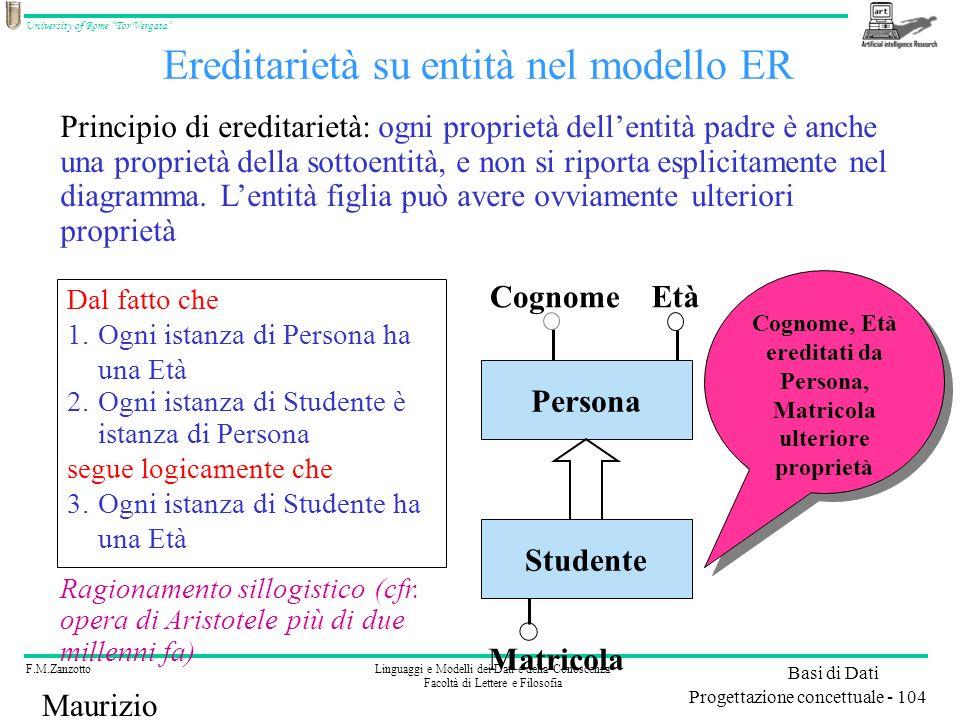 Ereditarietà su entità nel modello ER