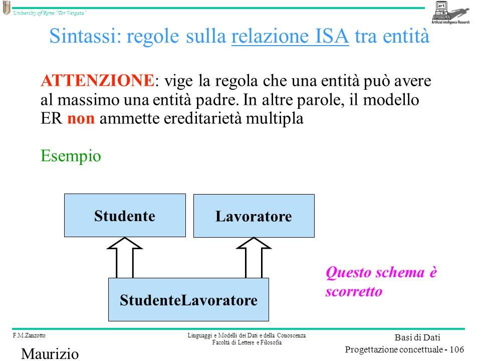 Sintassi: regole sulla relazione ISA tra entità