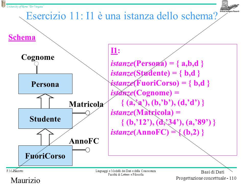 Esercizio 11: I1 è una istanza dello schema
