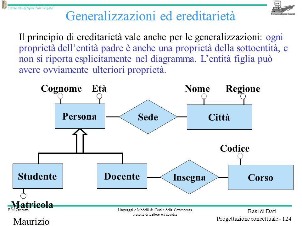 Generalizzazioni ed ereditarietà
