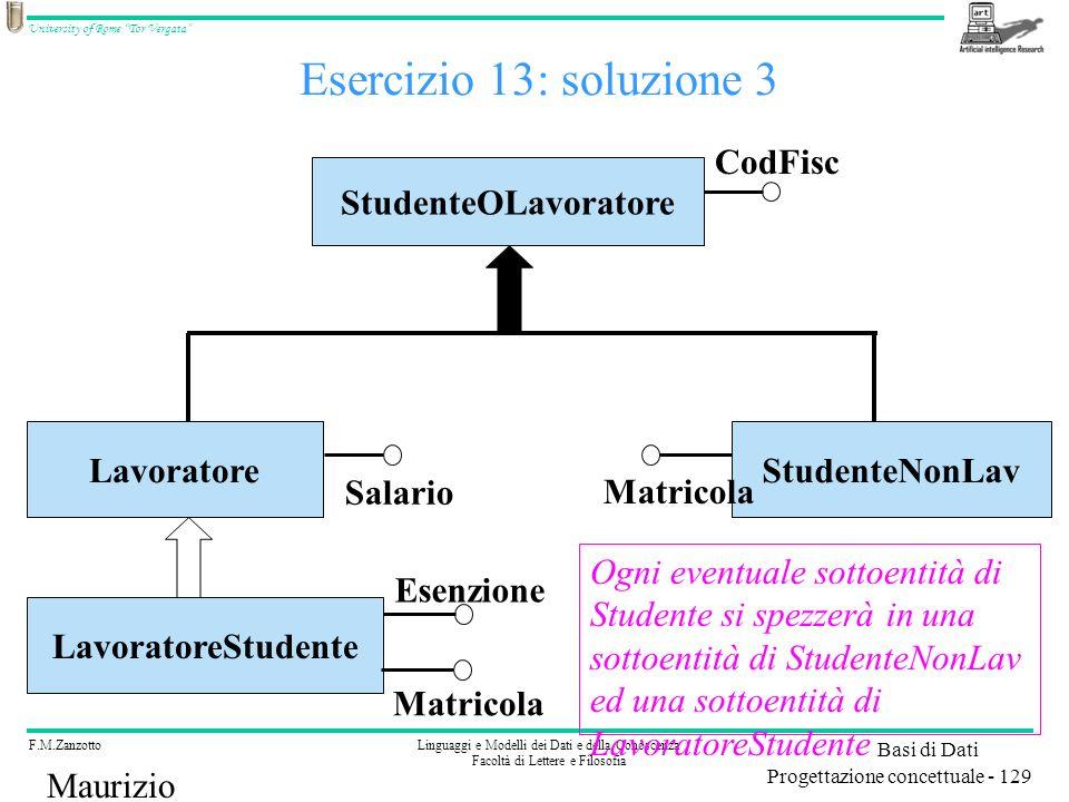 Esercizio 13: soluzione 3 CodFisc StudenteOLavoratore Lavoratore