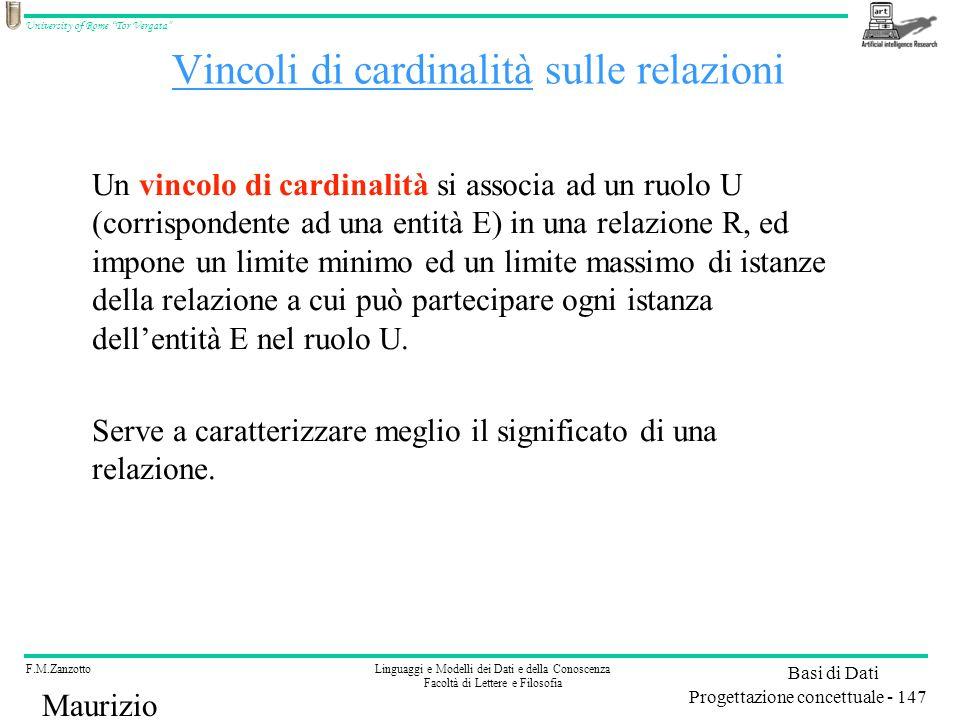 Vincoli di cardinalità sulle relazioni