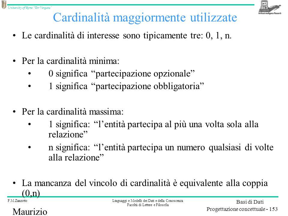 Cardinalità maggiormente utilizzate