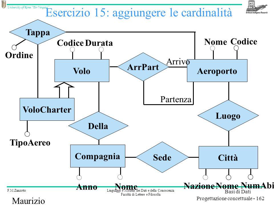 Esercizio 15: aggiungere le cardinalità