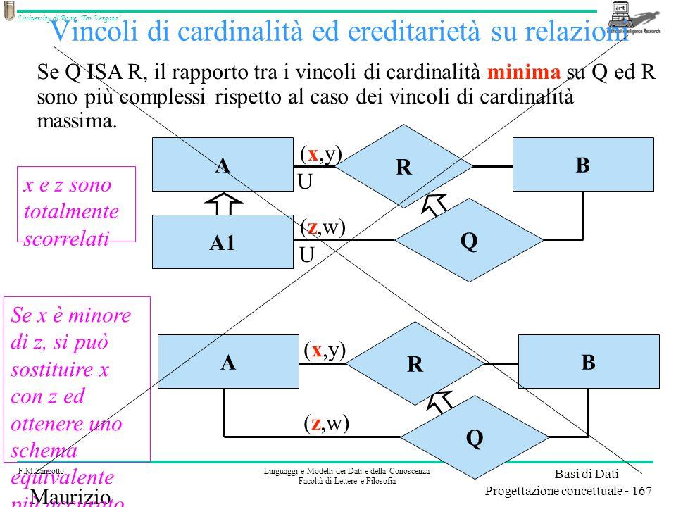 Vincoli di cardinalità ed ereditarietà su relazioni