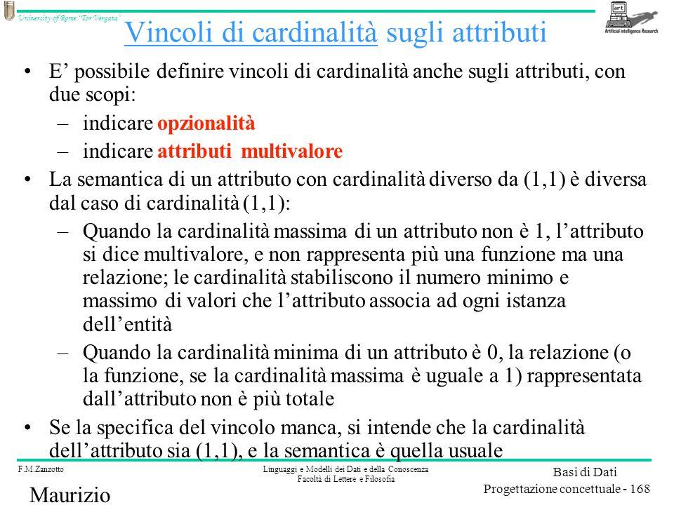 Vincoli di cardinalità sugli attributi