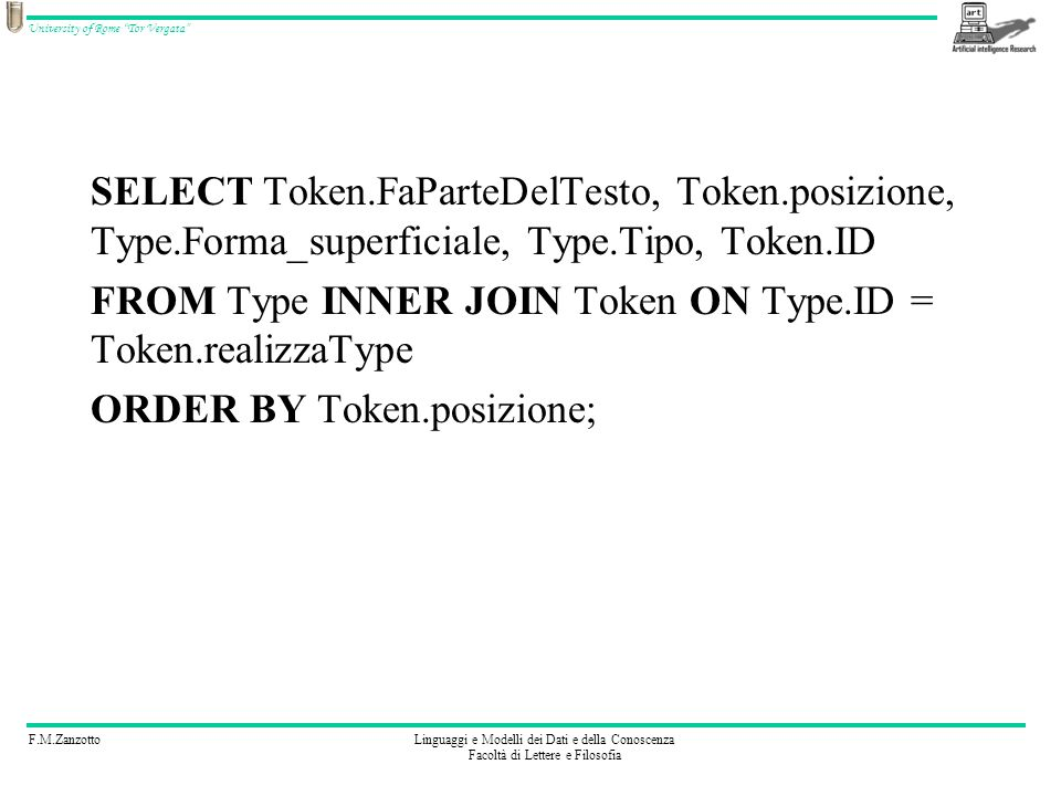 SELECT Token. FaParteDelTesto, Token. posizione, Type