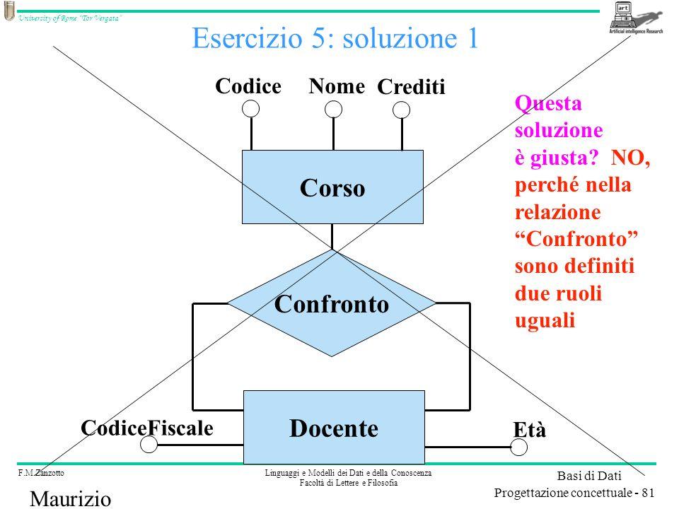 Esercizio 5: soluzione 1 Corso Confronto Docente Codice Nome Crediti