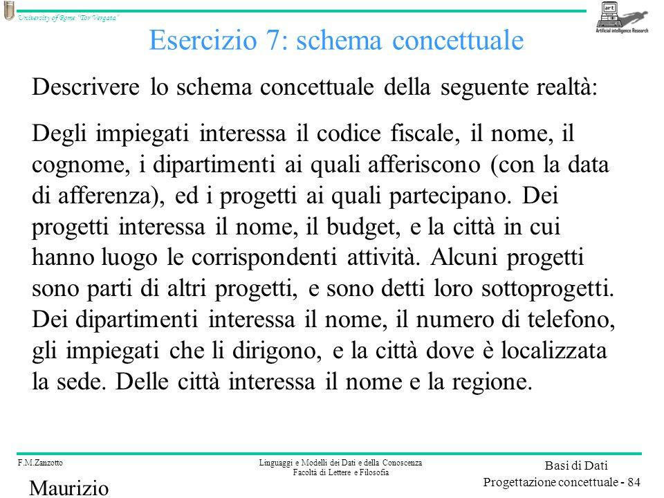Esercizio 7: schema concettuale