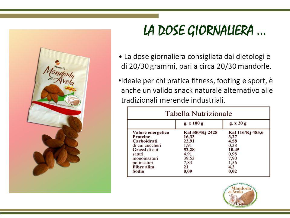 LA DOSE GIORNALIERA … • La dose giornaliera consigliata dai dietologi e di 20/30 grammi, pari a circa 20/30 mandorle.