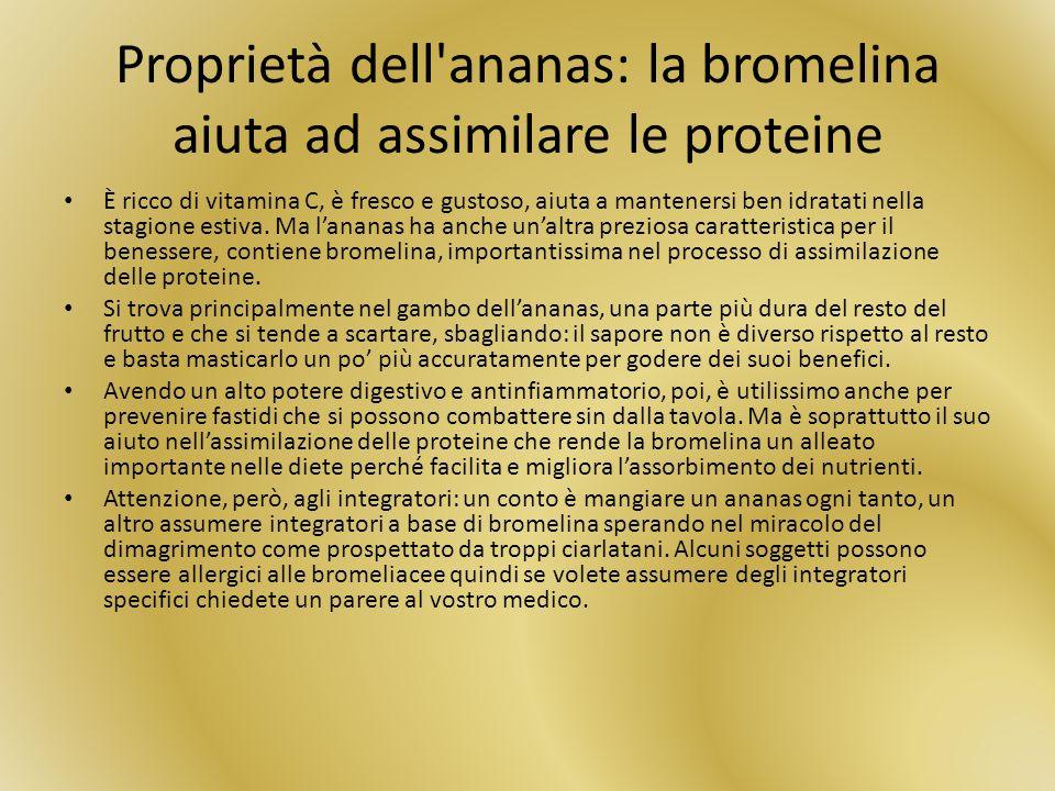 Proprietà dell ananas: la bromelina aiuta ad assimilare le proteine
