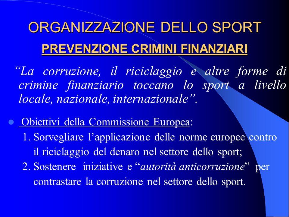 ORGANIZZAZIONE DELLO SPORT PREVENZIONE CRIMINI FINANZIARI