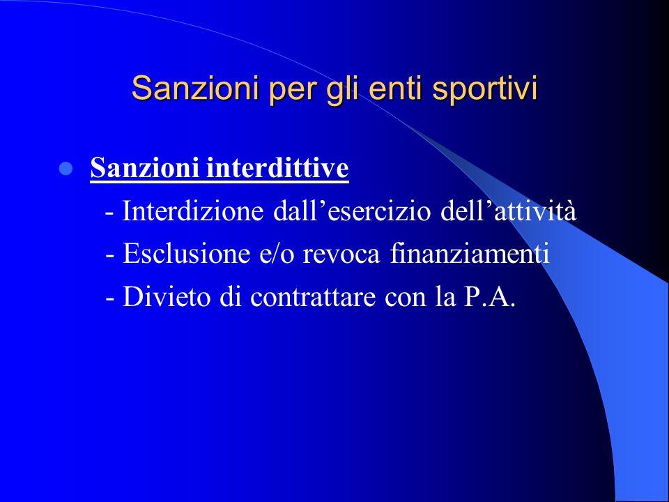 Sanzioni per gli enti sportivi