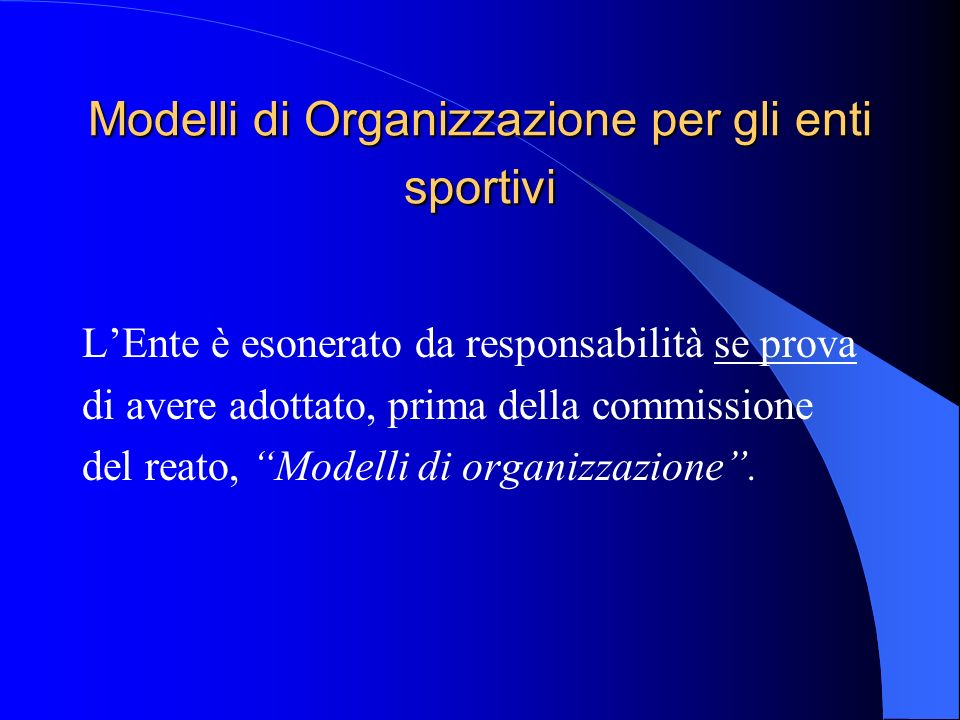 Modelli di Organizzazione per gli enti sportivi