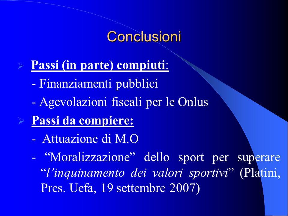 Conclusioni - Finanziamenti pubblici