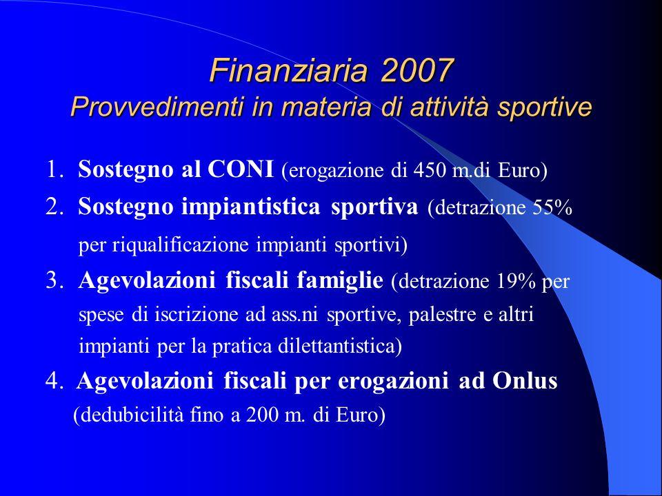 Finanziaria 2007 Provvedimenti in materia di attività sportive