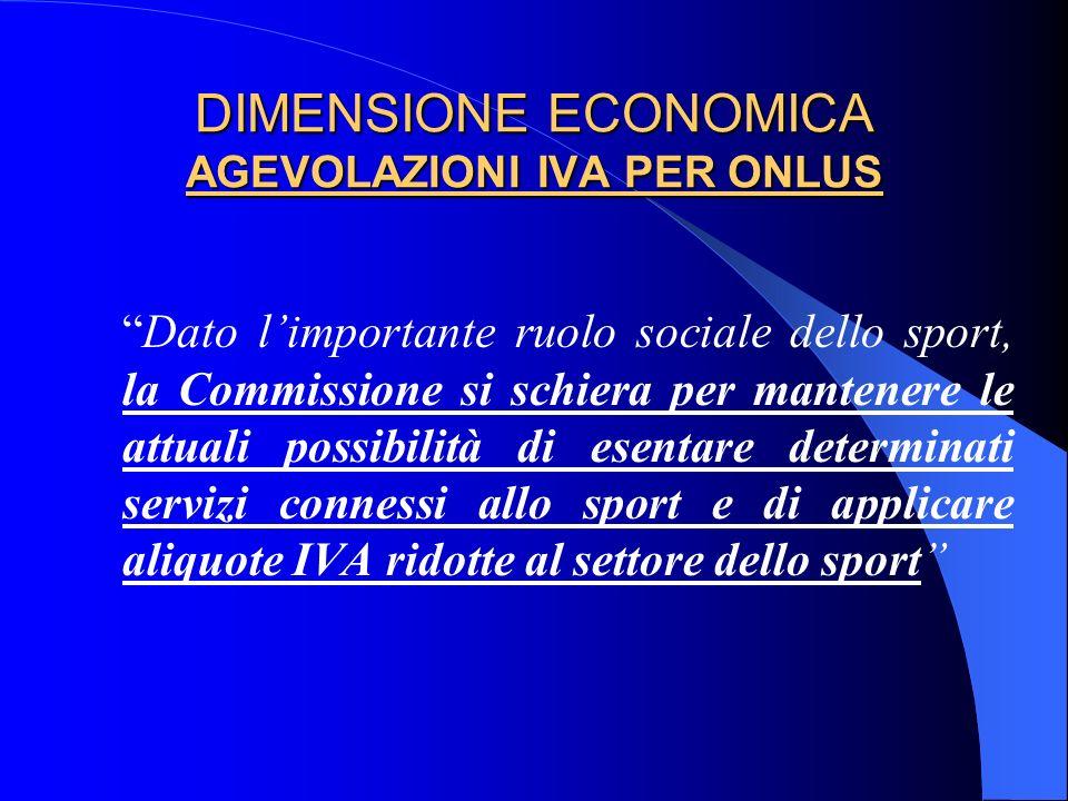 DIMENSIONE ECONOMICA AGEVOLAZIONI IVA PER ONLUS