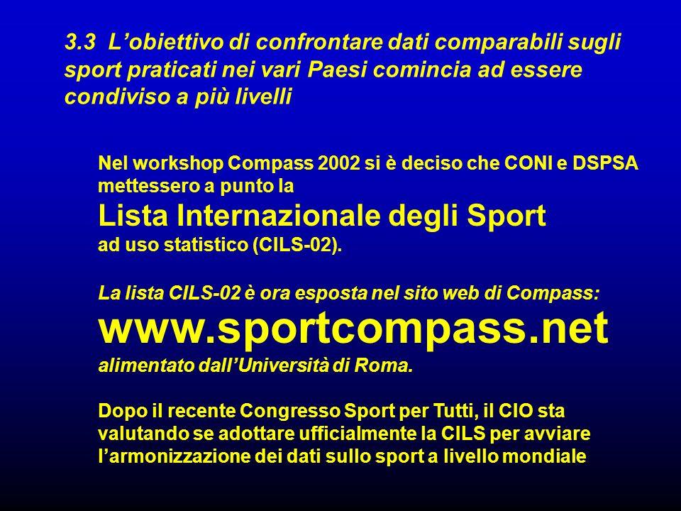 3.3 L'obiettivo di confrontare dati comparabili sugli sport praticati nei vari Paesi comincia ad essere condiviso a più livelli