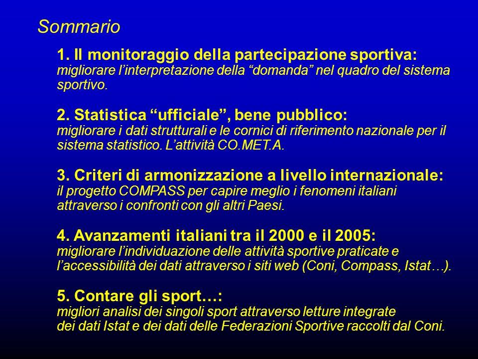 Sommario 1. Il monitoraggio della partecipazione sportiva: migliorare l'interpretazione della domanda nel quadro del sistema sportivo.