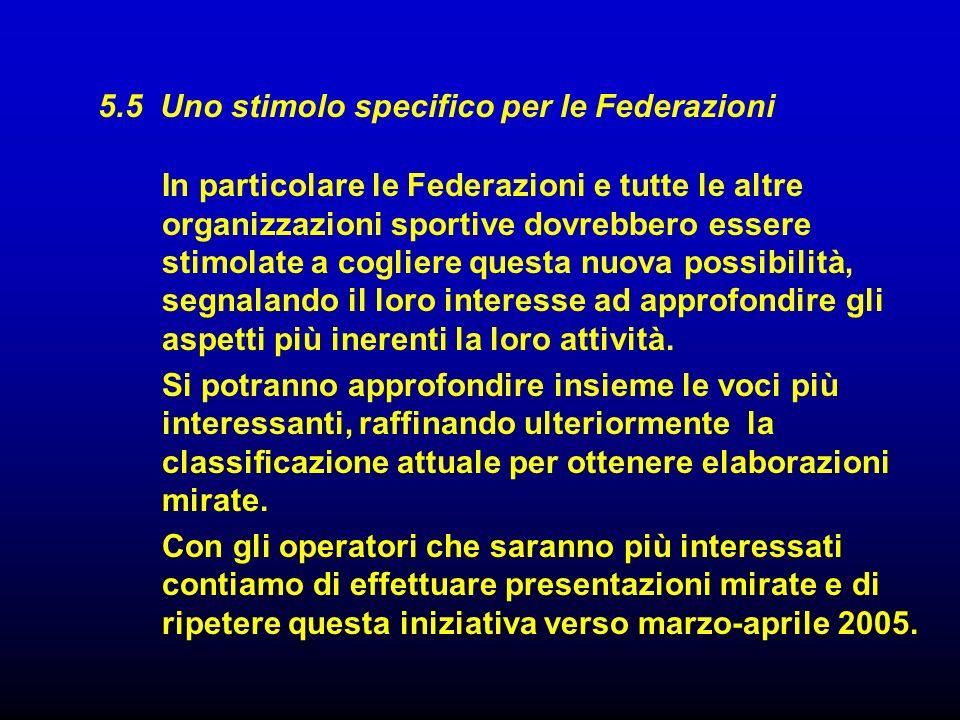 5.5 Uno stimolo specifico per le Federazioni