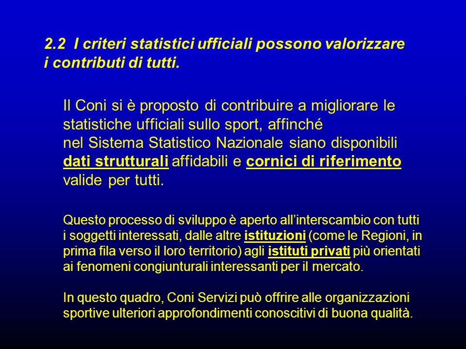 2.2 I criteri statistici ufficiali possono valorizzare i contributi di tutti.