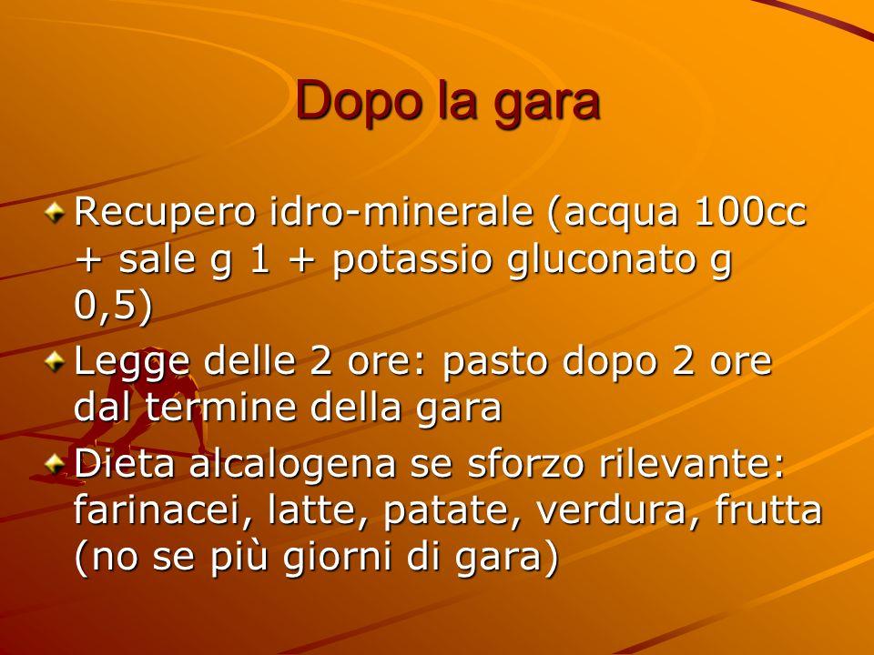 Dopo la garaRecupero idro-minerale (acqua 100cc + sale g 1 + potassio gluconato g 0,5) Legge delle 2 ore: pasto dopo 2 ore dal termine della gara.