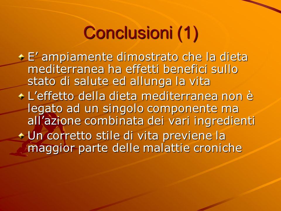 Conclusioni (1) E' ampiamente dimostrato che la dieta mediterranea ha effetti benefici sullo stato di salute ed allunga la vita.