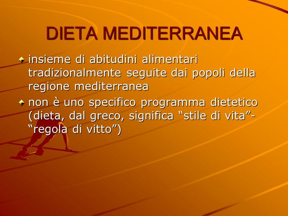 DIETA MEDITERRANEAinsieme di abitudini alimentari tradizionalmente seguite dai popoli della regione mediterranea.