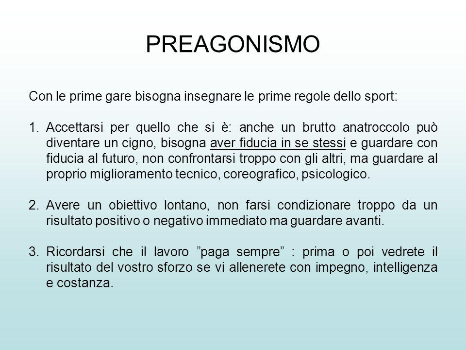 PREAGONISMO Con le prime gare bisogna insegnare le prime regole dello sport: