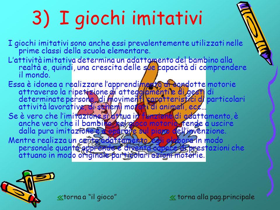 3) I giochi imitativi I giochi imitativi sono anche essi prevalentemente utilizzati nelle prime classi della scuola elementare.