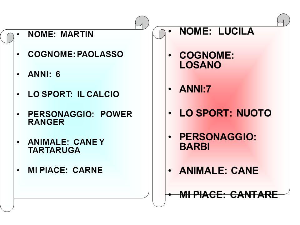 NOME: LUCILA COGNOME: LOSANO ANNI:7 LO SPORT: NUOTO PERSONAGGIO: BARBI