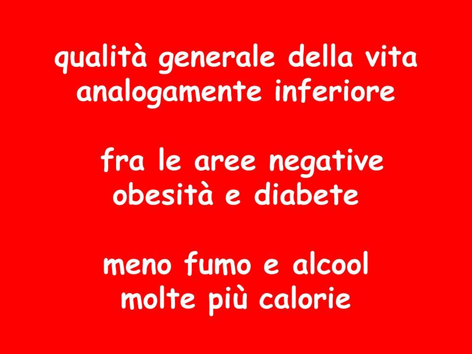 qualità generale della vita analogamente inferiore fra le aree negative obesità e diabete meno fumo e alcool molte più calorie