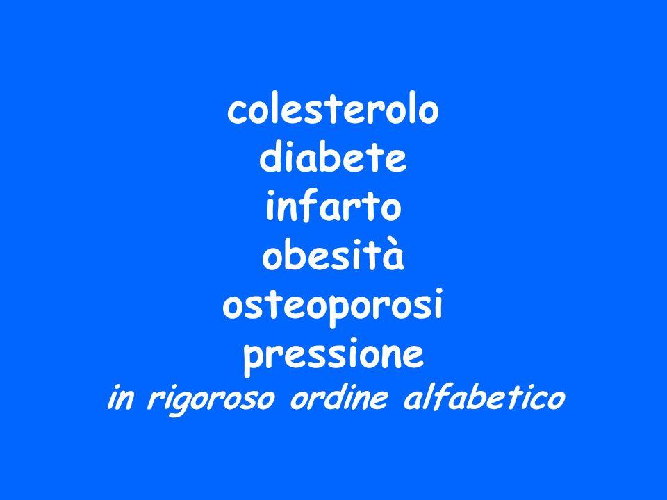 colesterolo diabete infarto obesità osteoporosi pressione in rigoroso ordine alfabetico