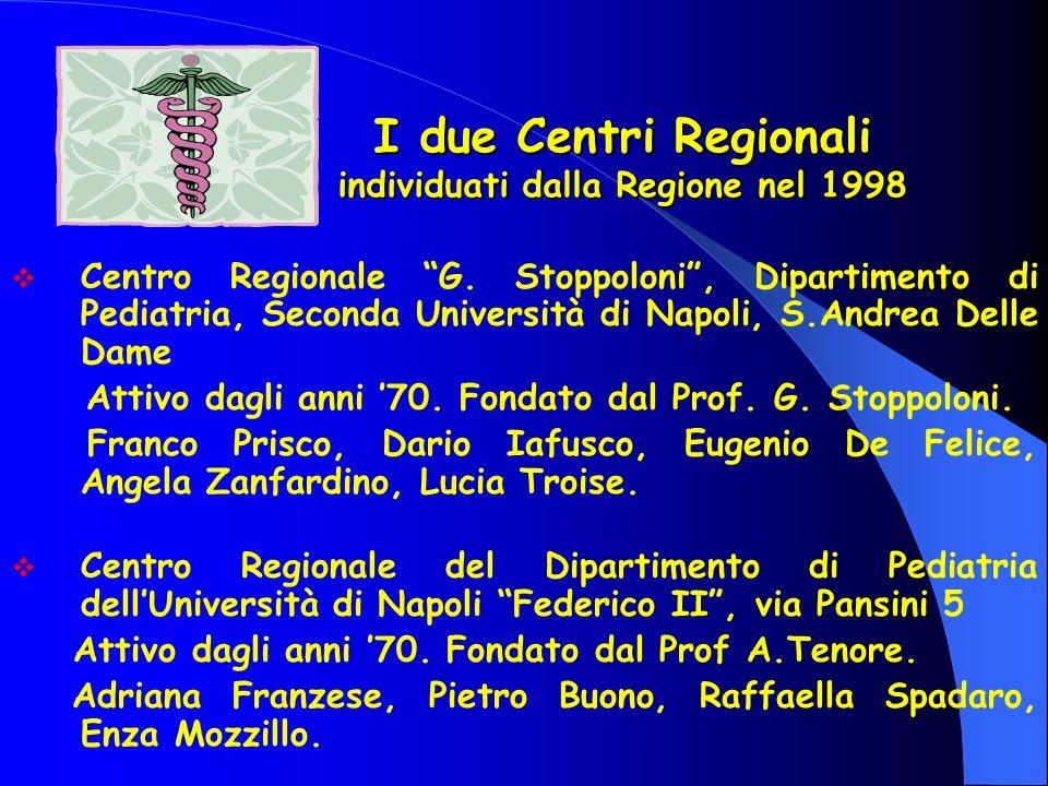 I due Centri Regionali individuati dalla Regione nel 1998