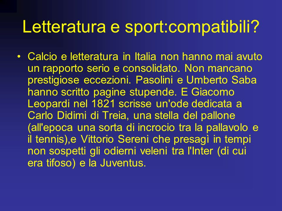 Letteratura e sport:compatibili