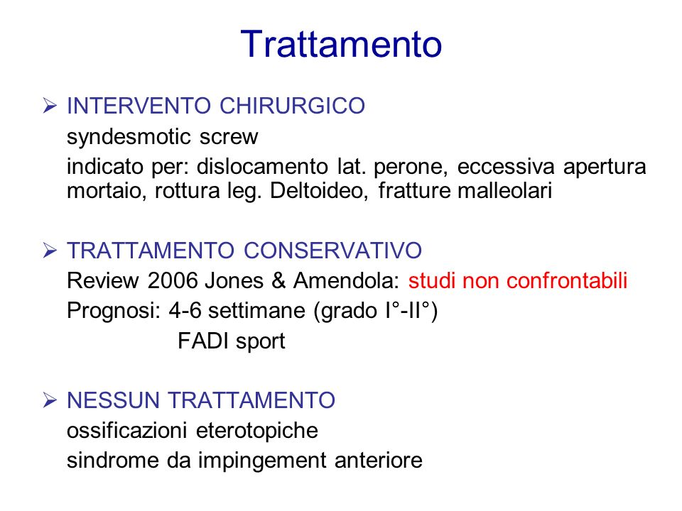 Trattamento INTERVENTO CHIRURGICO syndesmotic screw
