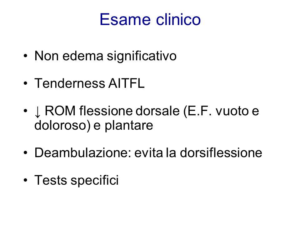Esame clinico Non edema significativo Tenderness AITFL