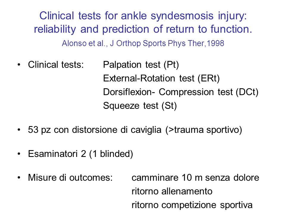 Clinical tests for ankle syndesmosis injury: reliability and prediction of return to function. Alonso et al., J Orthop Sports Phys Ther,1998
