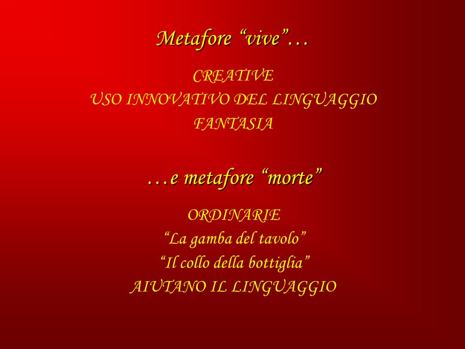 Metafore vive … …e metafore morte CREATIVE