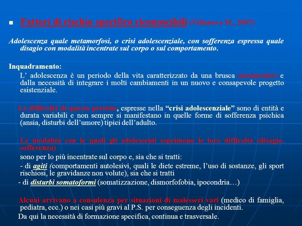 Fattori di rischio specifico riconoscibili (Villanova M., 2007)