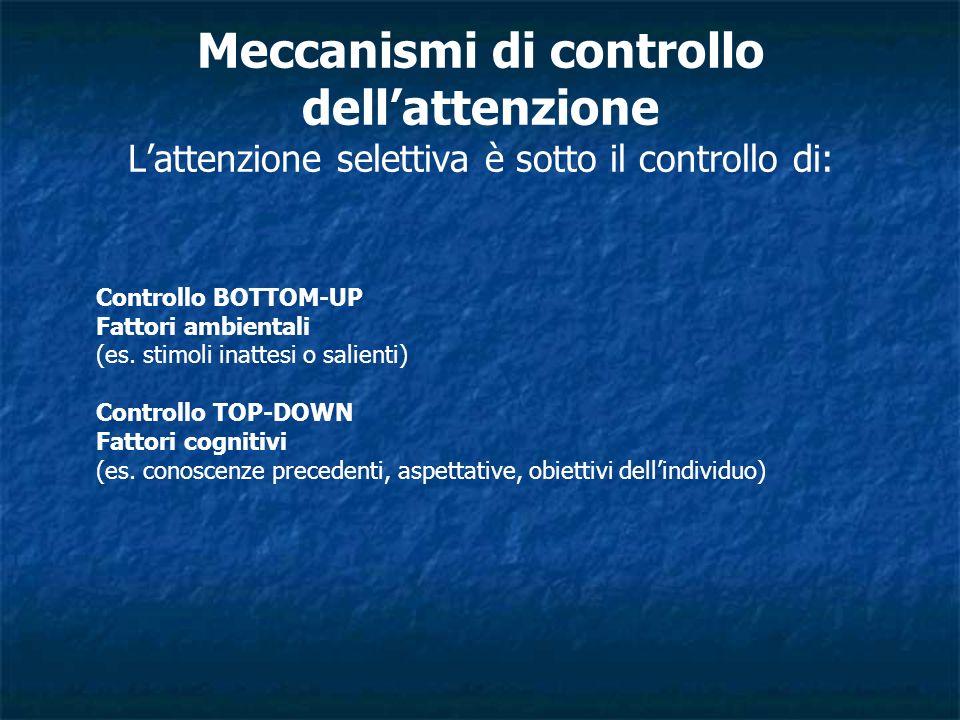 Meccanismi di controllo dell'attenzione L'attenzione selettiva è sotto il controllo di: