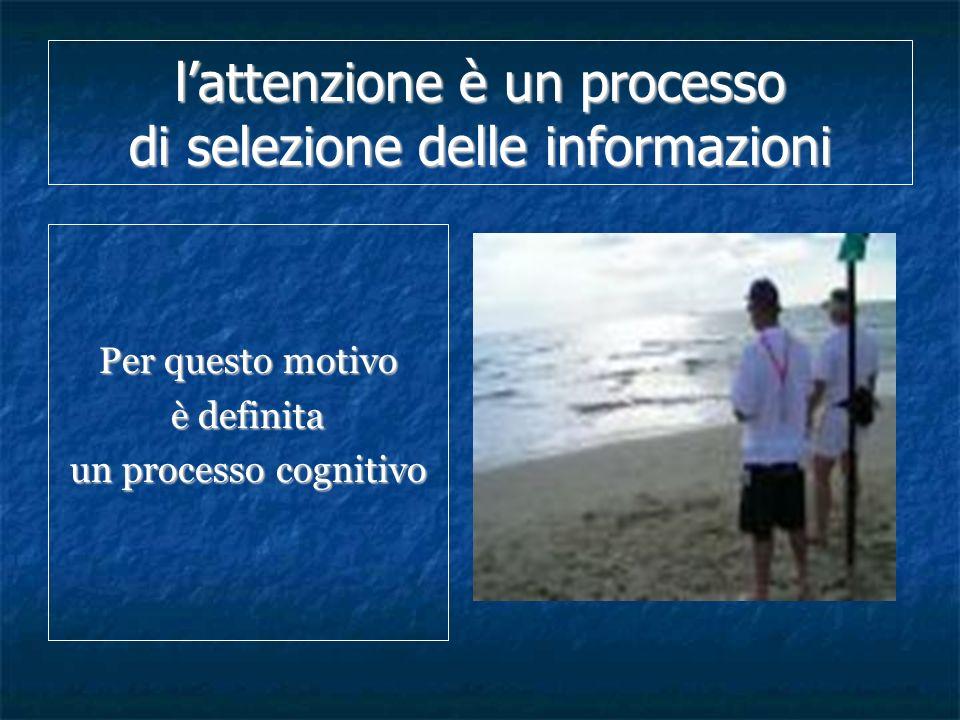 l'attenzione è un processo di selezione delle informazioni