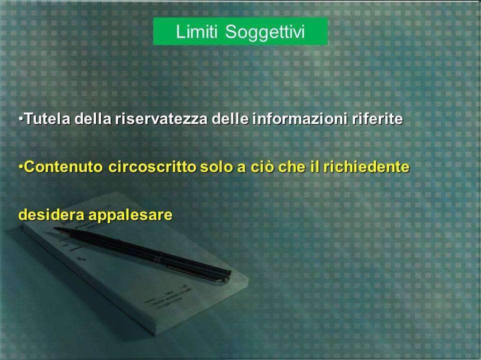 Limiti Soggettivi Tutela della riservatezza delle informazioni riferite.