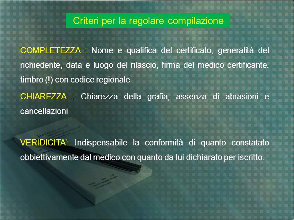 Criteri per la regolare compilazione