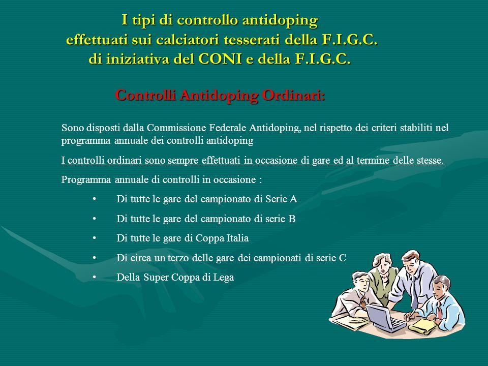 I tipi di controllo antidoping effettuati sui calciatori tesserati della F.I.G.C. di iniziativa del CONI e della F.I.G.C. Controlli Antidoping Ordinari: